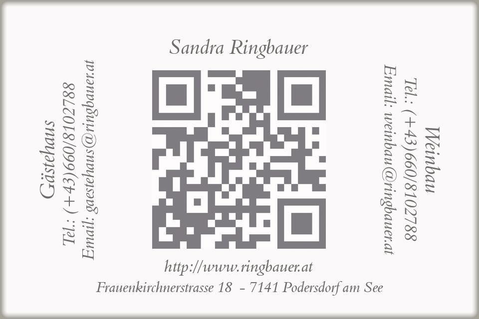 Visitenkarte Rückseite Weinbau Ringbauer